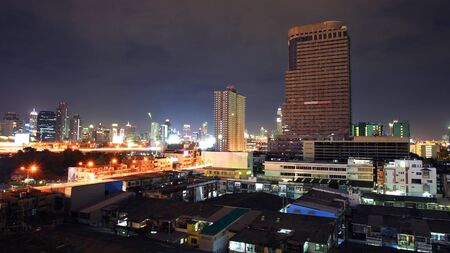 Skyline cityscape view at dusk in Bangkok photo
