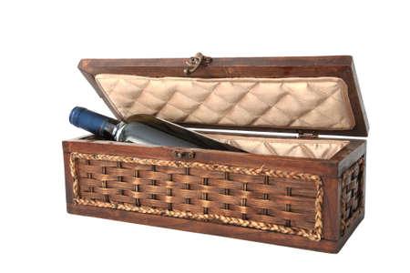 bordeau: Wine bottle on luxury wooden box isolated on white background