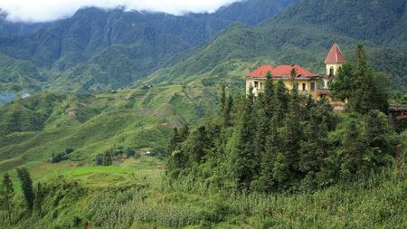 French colonial building on the mountain at Cat Cat village in Sapa, Vietnam  photo