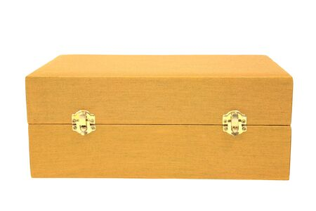 Golden chest or box with lock isolated on white background