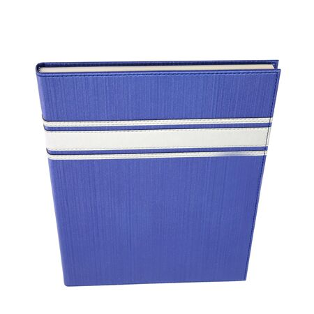 Blue hardcover book standing isolated on white background with copy space  photo