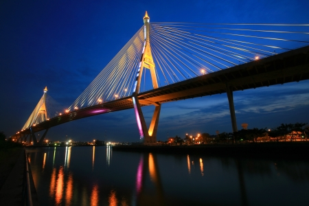 King Bhumibol Mega Bridge, aka Industrial Ring Road Bridge, at twilight in Bangkok, Thailand Stock Photo