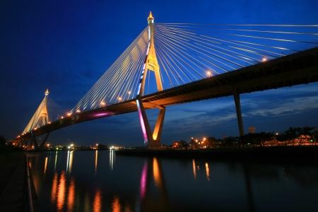 King Bhumibol Mega Bridge, aka Industrial Ring Road Bridge, at twilight in Bangkok, Thailand Stock Photo