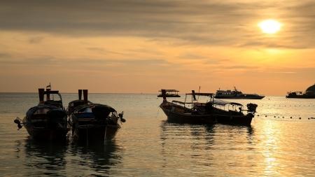 Boats at Tropical Andaman sea during beautiful sunset Stock Photo - 18047559