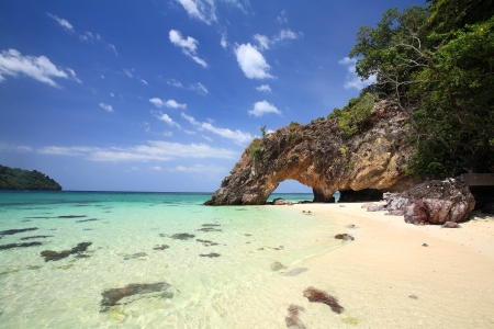 Stone arch scenic at Khai island near Koh Lipe and Tarutao national park in southern of Thailand photo