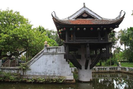 One Pillar Pagoda, one of the most famous places, in Hanoi, Vietnam
