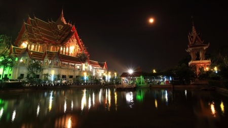 Grand temple of wat Bua Kwan with full moon on Magha Puja Day in Nonthaburi,  photo