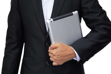Business man holding digital tablet isolated on white background Stock Photo - 18219429