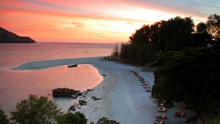 Aerial view of Koh Lipe at twilight in Satun, Thailand