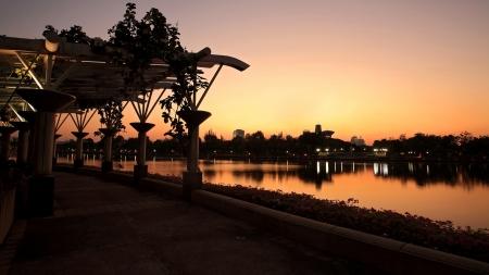 benjakitti: Benjakitti park at twilight in Bangkok, Thailand