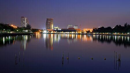 benjakitti: Cityscape at twilight on Benjakitti in Bangkok, Thailand  Stock Photo