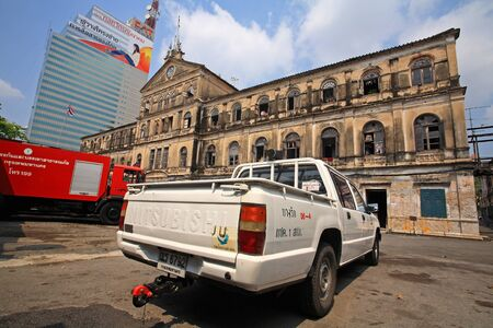 bangrak: BANGKOK-MAR 16  Fire trucks parking at Antique Bangrak fire station on March 16, 2013 in Bangkok, Thailand  Bangrak fire station, founded in 1890, is still in operation until now  Editorial