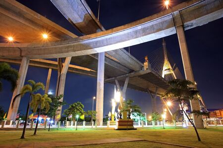 Recreation park under Bhumibol bridge at night  photo
