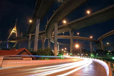 bhumibol: Light trail on street under Bhumibol bridge