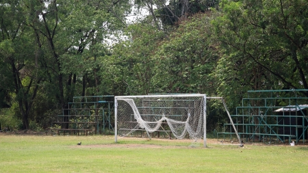 Soccer goal with net  Stock Photo