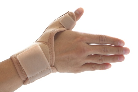 affected: Thumb orthosis medical support isolated on white background Stock Photo