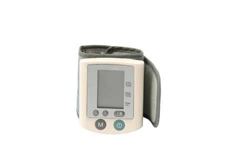 tonograph: Hand Digital blood pressure monitor isolated on white  Stock Photo