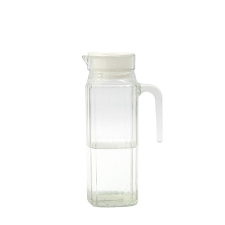 Transparent glass jug or pitcher with water isolated on white background  photo