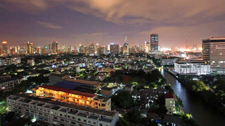 Bangkok downtown skyline near the canal at twilight by aerial view, Thailand photo