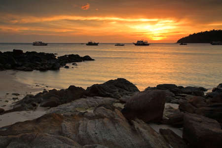 Tropical beach at sunset at Koh Lipe in Satun, Thailand Stock Photo - 19311518
