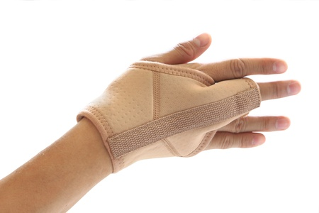 middle joint: Wrist and finger brace support isolated on white background Stock Photo