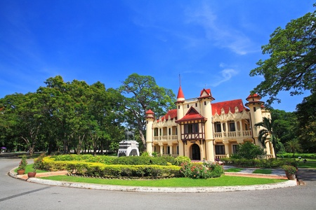 Chali Mongkol Asana,  European castle style of Sanam Chan Palace against blue sky in Nakhon pathom, Thailand