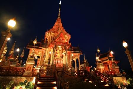 bejaratana: Royal Cremation Ceremony of Prince Bejaratana Rajasuda at twilight in Bangkok, Thailand