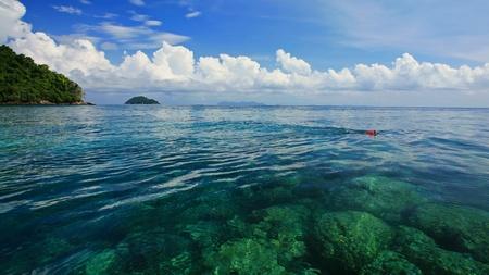 surin: snorkeling spot of coral reef in transparent crystal Andaman sea at Koh Surin in Phang Nga, Thailand Stock Photo