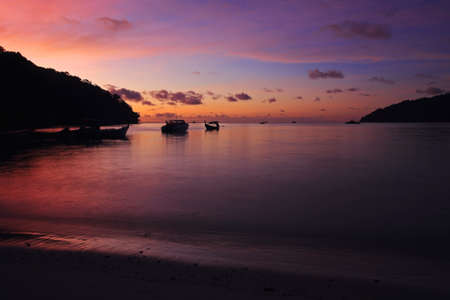 Beautiful twilight sky at Andaman sea and beach on Koh Surin in Phang Nga, Thailand Stock Photo - 19989161