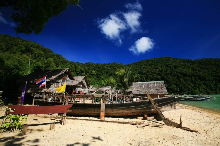 Morgan, sea Gypsies, village against blue sky at Surin islands in in Phang-Nga, Thailand