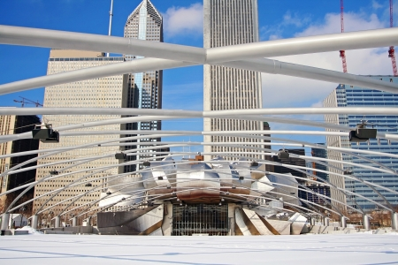 Chicago Jay Pritzker Pavilion at Millennium Park during winter in IL, USA