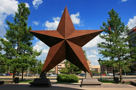 settled: AUSTIN,TEXAS-JUL 19  Big star decorated in the city against blue sky on July 19, 2008 in Austin, Texas, USA  Austin, capital city of Texas state settled in 1835, is the 11th most populous city in US
