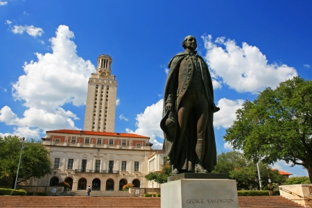 TEXAS-JUL 19  George Washington statue at University of Texas  UT  against blue sky in Austin, Texas on July 19, 2008  UT, founded in 1883, has the fifth-largest single-campus enrollment in US