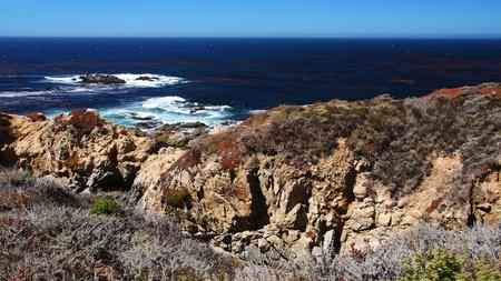 Seashore at viewpoint of 17 Mile Drive in Big Sur at Monterey, California Stock Photo