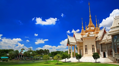 Thai temple named Wat Sorapong against blue sky in  Nakhon Ratchasima or Korat, Thailand photo