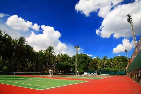 Outdoor tennis hard courts against blue sky