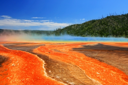 Colorful Midway geyser basin against blue sky at Yellowstone national park, Wyoming