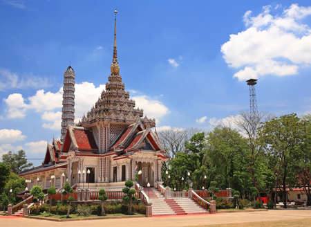 pyre: traditional Thai crematory or funeral pyre at wat Thammasala in Nakhon Pathom, Thailand