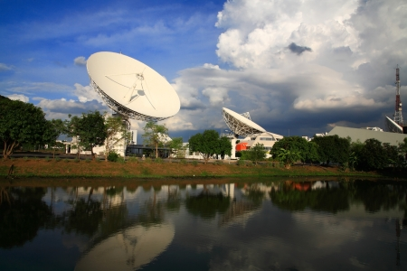 Large broadcast radars or satellite dishes with reflection on the pond photo