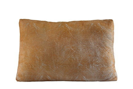 Classic large beige pillow isolated on white photo
