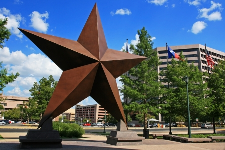 AUSTIN,TEXAS-JUL 19  Big star decorated in town against blue sky on July 19, 2008 in Austin, Texas, USA  Austin, capital city of Texas state settled in 1835, is the 11th most populous city in US