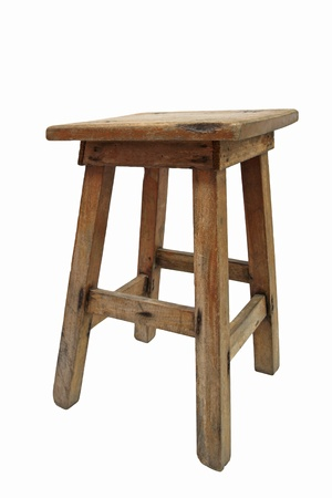 Old Chinese wooden chair isolated on white photo