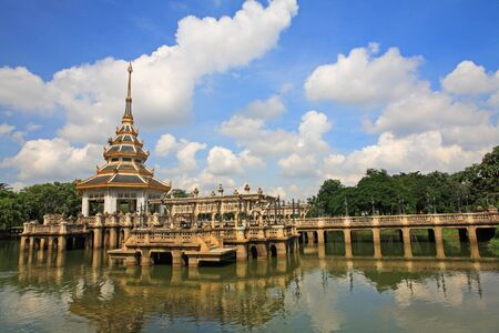 Pagoda at Chalerm Phrakiat park against blue sky in Nonthaburi, Thailand Stock Photo - 22975693