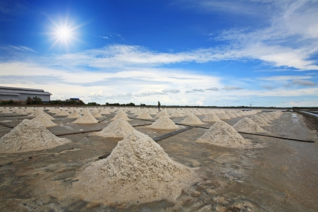 Salt fields against sunbeam and blue sky in Thailand photo