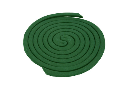 insectiside: Green Mosquito coil isolated on white background Stock Photo