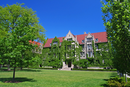 Ivy clad halls by front view at University of Chicago campus