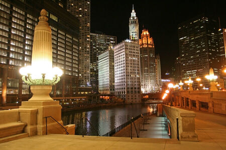 Chicago cityscape at night in IL, USA photo
