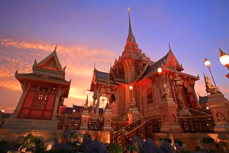 pyre: Royal funeral pyre of princess at twilight in Bangkok, Thailand Stock Photo