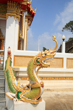 Naga at the staircase in Thai Temple Stock Photo - 24529954