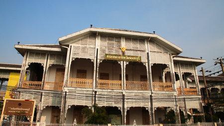 nonthaburi: Ancient wooden building of Nonthaburi city hall, Thailand